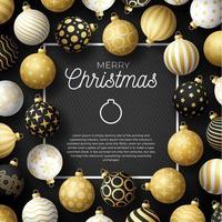 banner quadrado de venda de natal de luxo com enfeites de bola ornamentados vetor