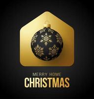 cartão para casa de feliz natal de luxo com enfeite de bola ornamentado