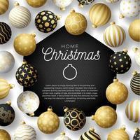 cartão para casa de feliz natal de luxo com enfeites de bola ornamentados