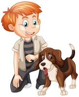 menino brincando com um cachorro isolado no fundo branco vetor
