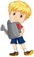 menino bonito segurando um regador cinza vetor