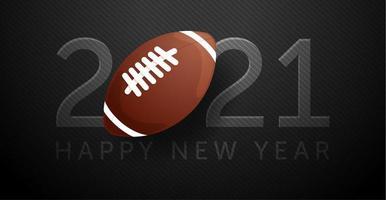 cartão de ano novo 2021 com futebol americano vetor