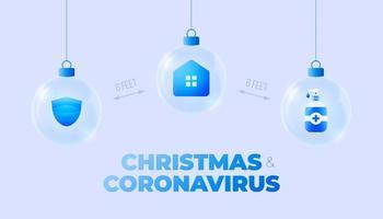 banner de enfeites de bola de vidro de coronavirus natal vetor