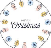 quadro de círculo de lâmpadas de natal desenhada à mão vetor