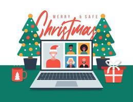 saudação de natal com a família ou amigos videochamada