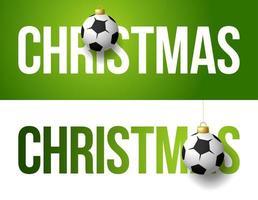 banners de natal com enfeites de futebol ou bola de futebol vetor