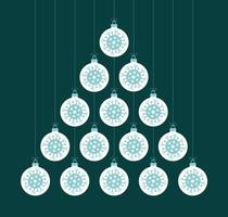 árvore de natal criativa do coronavirus feita de bolas de bugiganga vetor