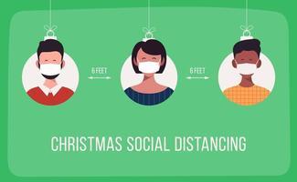 banner de distanciamento social de natal com enfeites de pessoas mascaradas vetor