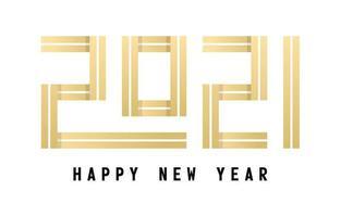 feliz ano novo 2021 design de tipografia dourada vetor