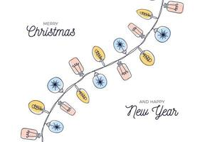 cartão de natal vintage com guirlandas de lâmpada desenhadas à mão vetor