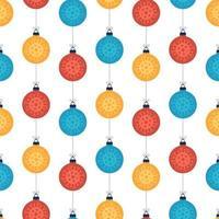 Natal coronavirus padrão sem costura bolas coloridas em branco vetor