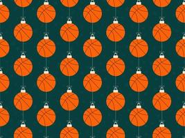feliz natal basquete padrão horizontal sem costura vetor