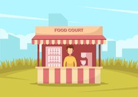 Um homem no tribunal de alimentação vermelha vetor