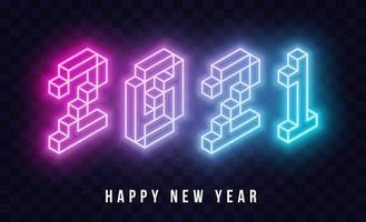 Texto de néon isométrico feliz ano novo 2021 vetor