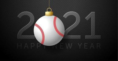 cartão de ano novo 2021 com enfeite de beisebol vetor