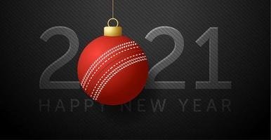 cartão de ano novo 2021 com enfeite de bola de críquete vetor