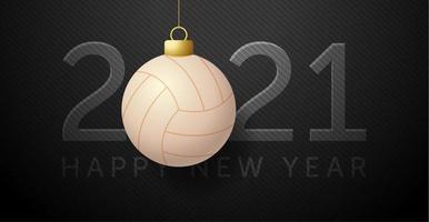 cartão de ano novo 2021 com enfeite de voleibol vetor