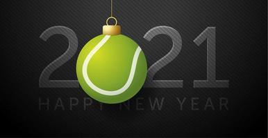 cartão de ano novo 2021 com enfeite de bola de tênis vetor