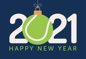 Tipografia de feliz ano novo de 2021 com enfeite de bola de tênis vetor