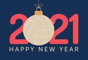 Tipografia de feliz ano novo de 2021 com enfeite de vôlei vetor