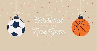 banner horizontal de feliz natal enfeite de esporte vetor