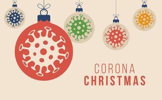 conceito de natal de ornamento de bola de coronavirus