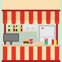 Mercado de fast food na praça de alimentação vetor