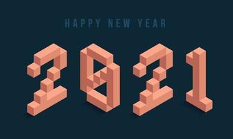 Tipografia isométrica de feliz ano novo de 2021 vetor