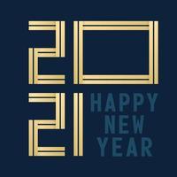 cartão comemorativo da tipografia feliz ano novo 2021 vetor