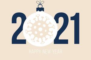 feliz ano novo 2021 tipografia com ornamento de coronavírus vetor
