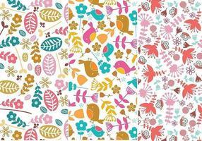 Padrões de Illustrator de flores e pássaros vetor