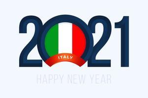 tipografia de ano novo 2021 com bandeira da itália vetor