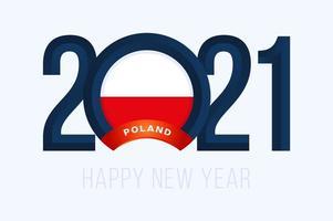 tipografia de ano novo 2021 com bandeira da polônia