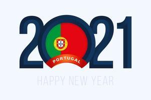 tipografia de ano novo 2021 com bandeira de portugal vetor