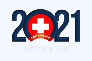 tipografia de ano novo 2021 com bandeira da suíça