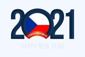 tipografia de ano novo 2021 com bandeira da república checa