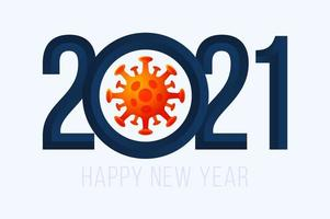 feliz ano novo 2021 tipografia com célula de coronavírus vetor