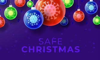 banner de bola de coronavírus de natal de vidro vetor