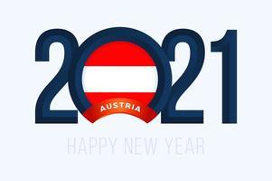 tipografia de ano novo 2021 com bandeira da áustria