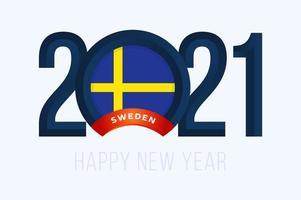 tipografia de ano novo 2021 com bandeira da Suécia