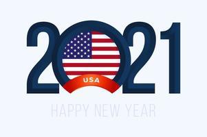 tipografia de ano novo 2021 com bandeira dos EUA vetor