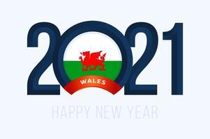 tipografia de ano novo 2021 com bandeira do wales