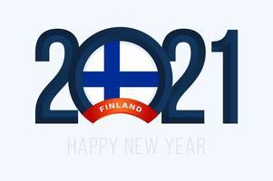 tipografia de ano novo 2021 com bandeira da finlândia