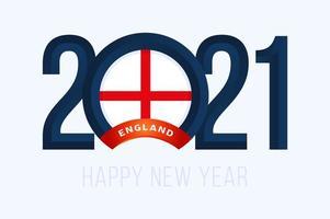tipografia de ano novo 2021 com bandeira da inglaterra vetor