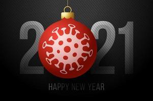 tipografia de feliz ano novo 2021 com ornamento de bola de coronavírus vetor