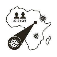 mapa africano com ícone de infográfico de coronavírus