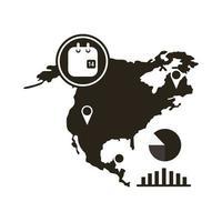 Mapa da América do Norte com ícone do infográfico de coronavírus vetor