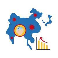 mapa com ícone de infográfico de coronavírus
