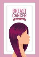 pôster do mês de conscientização do câncer de mama com rosto de mulher vetor