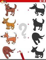 jogo de sombras com personagens de comic dogs vetor
